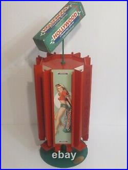 Rare Hollywood Chewing Gum Counter Top Metal Store Display Rotating Dispenser