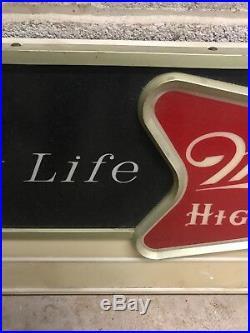 Rare Miller High Life Bouncing Ball 60s Bar Store Display 42 Message Board Sign