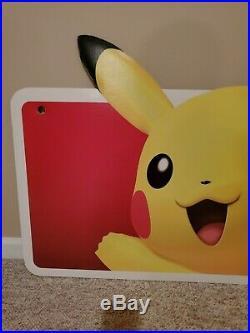 Rare Nintendo Pokemon Huge Pikachu In Store Display Thick Cardboard Cutout