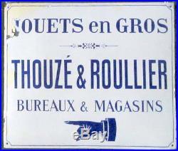 Rare Plaque Emaille Ancienne Jouets Thouze Et Roullier Emaillerie Dewez