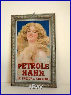 Rare Superbe Plaque Tôle G. De Andreis Pétrole Hahn début 1900 no émaillé Ancien