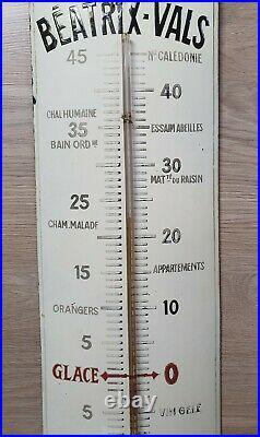 Rare Thermomètre Plaque Émaillée Eau de table et de régime BEATRIX VALS Signée