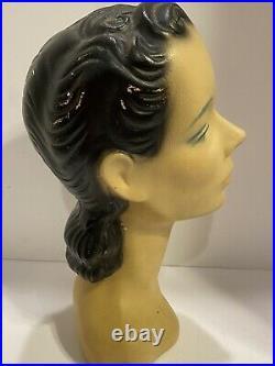 Rare VINTAGE Chalk Plaster Lady MannequIn Head Dept Store Display L A Darling