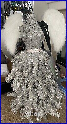 Rare Victorias Secret VS Pink Silver Xmas Angel Wing Maidenform Display