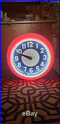 Rare Vintage Huge Neon Clock Old Store Display Diner Grocery Store NICE