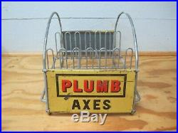 Rare Vintage Plumb Axes Store Counter Top Display 2 Sided Original Advertising
