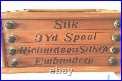 Rare Vintage Richardson Perfect Embroidery Silk Store Counter Display Cabinet