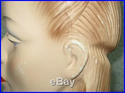 Rare Vintage Store Display Chalk Or Plaster Lady Head Mannequin
