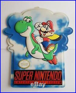 Rare Vintage Super Nintendo SNES M80Y Mario Yoshi Store Display Promotional Sign