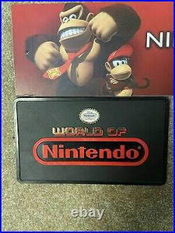 Rare Vintage WORLD OF NINTENDO Store Display Sign 12x7 Plastic 2 Sided