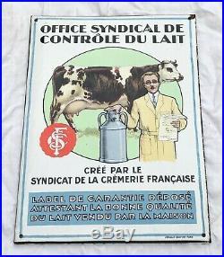 Rare ancienne plaque émaillée SYNDICAT DE LA CRÈMERIE FRANÇAISE des années 1930