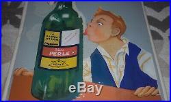 Rare ancienne plaque émaillée bière Perle