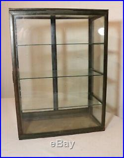 Rare antique collapsable glass metal countertop store display show case brass