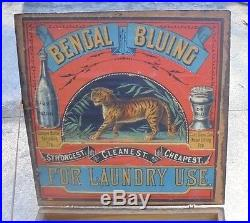Rare antique country store display box advertising Bengal Bluing