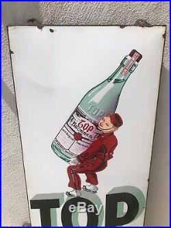 Rare plaque émaille TOP BRONNEN 1959 tole eau santé boisson bar pub brasserie