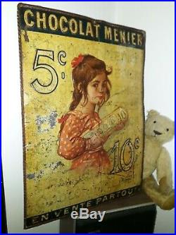 Rare plaque publicitaire tole Chocolat Menier 1898 Roedel antique french sign