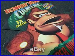SNES Super Nintendo DONKEY KONG COUNTRY Store Display Sign Cardboard Promo RARE