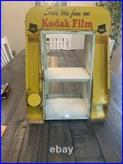 VINTAGE KODAK CAMERA STORE COUNTER FILM DISPENSER Display Case Orig. Glass RARE