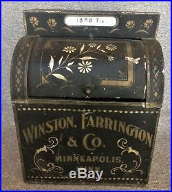 VINTAGE RARE 1890s WINSTON FARRINGTON & CO. COUNTER DISPLAY TIN MINNEAPOLIS, MINN