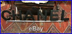 Very Rare Authentic CHANEL Storefront Metal Display Sign Black Flap Bag LOOK