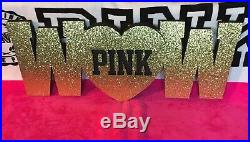 Victorias Secret PINK Bling Gold Glitter WOW Store Prop Room Decoration NEW RARE
