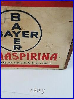 Vintage BAYER Aspirin Country General Store Window Display Sign Rare Original