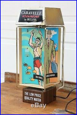 Vintage Bulova Caravelle Rotating Watch Display Lighted sign Divers watch RARE