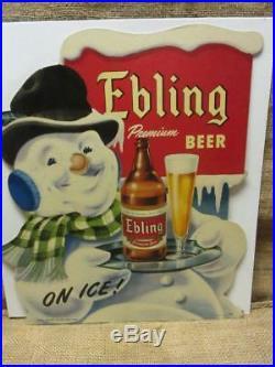Vintage Ebling German Beer Store Snowman Display Sign RARE Antique Brewery 9930