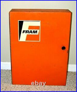 Vintage Fram Oil Filter Rare Display Cabinet Metal Automotive Shop Parts Sign