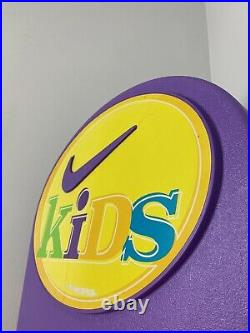 Vintage NIKE Shoe Display Kids Sneakers Sign Check Swoosh Multicolor 90s RARE