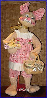 Vintage Rare! 1981 Huge Store Display 4' 3 Tall Annalee Mrs Easter Bunny Doll