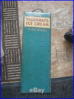 Vintage Rare Advertising FAIRMONT ICE CREAM Store Display Pricing Slots Sign