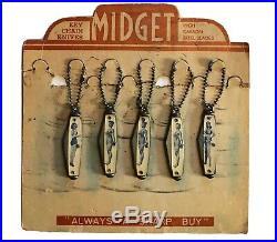 Vintage Risqué Girlie Pinup Keychain Mini Knives Ideal Midget Store Display Rare