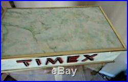 Vintage TIMEX WRIST WATCH ADVERTISING STORE DISPLAY CASE LIGHTS ROTATES KEY RARE