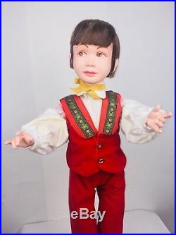 Vintage animated mechanical store display figure little boy 31in tall very rare