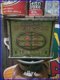Vintage old metal adams gum general store display gas station sign oil rare