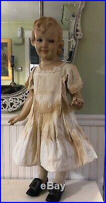 Vtg 1920s Antique GLASS EYE Child STORE DISPLAY MANNEQUIN Doll Composition Rare